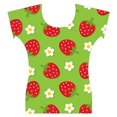 Strawberries Flower Floral Red Green Women s Cap Sleeve Top
