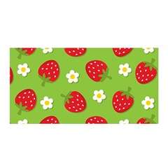 Strawberries Flower Floral Red Green Satin Wrap
