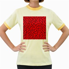 Watermelon Seeds Women s Fitted Ringer T-Shirts