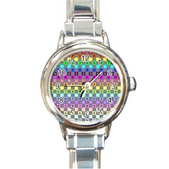 Test Number Color Rainbow Round Italian Charm Watch