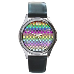 Test Number Color Rainbow Round Metal Watch