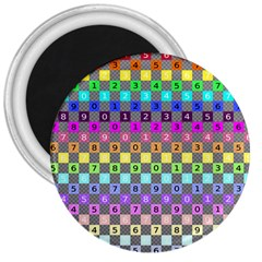 Test Number Color Rainbow 3  Magnets