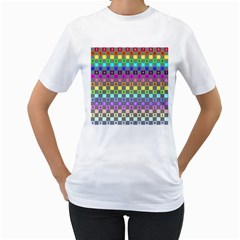 Test Number Color Rainbow Women s T-Shirt (White) (Two Sided)