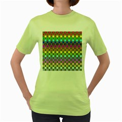 Test Number Color Rainbow Women s Green T-Shirt