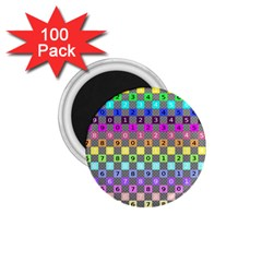 Test Number Color Rainbow 1.75  Magnets (100 pack)