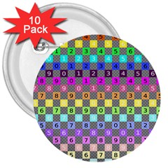 Test Number Color Rainbow 3  Buttons (10 pack)
