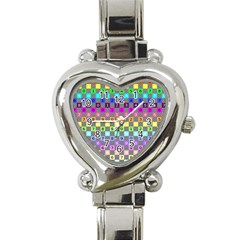 Test Number Color Rainbow Heart Italian Charm Watch