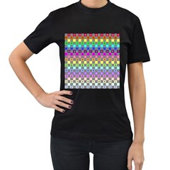 Test Number Color Rainbow Women s T-Shirt (Black) (Two Sided)