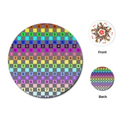 Test Number Color Rainbow Playing Cards (Round)