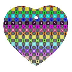Test Number Color Rainbow Heart Ornament (Two Sides)