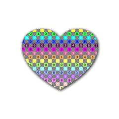 Test Number Color Rainbow Rubber Coaster (Heart)