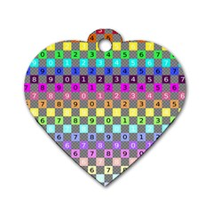 Test Number Color Rainbow Dog Tag Heart (One Side)