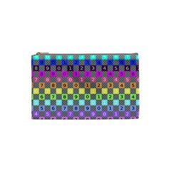 Test Number Color Rainbow Cosmetic Bag (Small)