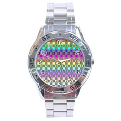 Test Number Color Rainbow Stainless Steel Analogue Watch