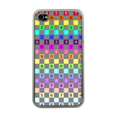Test Number Color Rainbow Apple iPhone 4 Case (Clear)