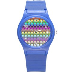 Test Number Color Rainbow Round Plastic Sport Watch (S)