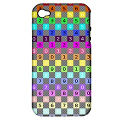 Test Number Color Rainbow Apple iPhone 4/4S Hardshell Case (PC+Silicone)