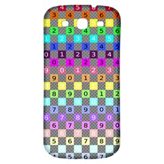 Test Number Color Rainbow Samsung Galaxy S3 S III Classic Hardshell Back Case