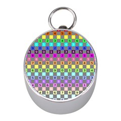 Test Number Color Rainbow Mini Silver Compasses