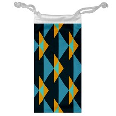 Yellow blue triangles pattern                                                        Jewelry Bag