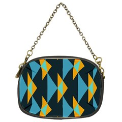 Yellow blue triangles pattern                                                        Chain Purse (Two Sides)