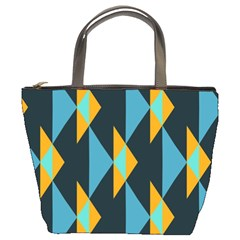 Yellow blue triangles pattern                                                        	Bucket Bag