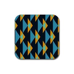Yellow blue triangles pattern                                                        			Rubber Square Coaster (4 pack