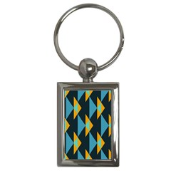 Yellow blue triangles pattern                                                        Key Chain (Rectangle)