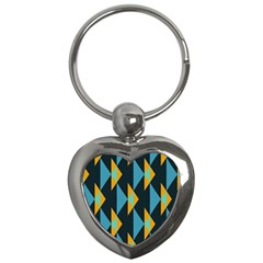 Yellow blue triangles pattern                                                        			Key Chain (Heart)