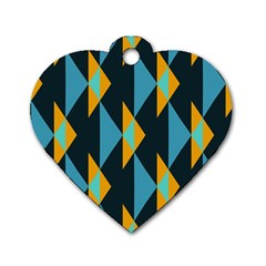 Yellow blue triangles pattern                                                        			Dog Tag Heart (One Side)