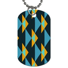Yellow blue triangles pattern                                                        			Dog Tag (One Side)