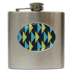 Yellow blue triangles pattern                                                        Hip Flask (6 oz)