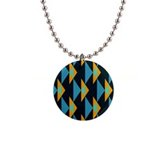 Yellow blue triangles pattern                                                        1  Button Necklace