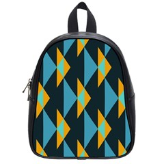 Yellow blue triangles pattern                                                        School Bag (Small)