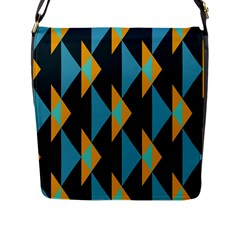 Yellow blue triangles pattern                                                        			Flap Closure Messenger Bag (L)