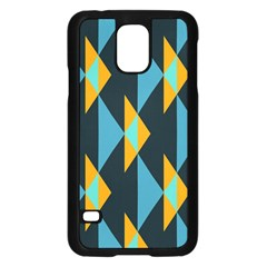 Yellow blue triangles pattern                                                       			Samsung Galaxy S5 Case (Black)