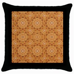 Intricate Modern Baroque Seamless Pattern Throw Pillow Case (Black)