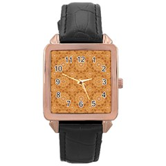 Intricate Modern Baroque Seamless Pattern Rose Gold Leather Watch