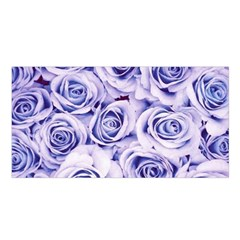 Electric white and blue roses Satin Shawl