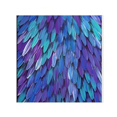 Blue bird feather Small Satin Scarf (Square)