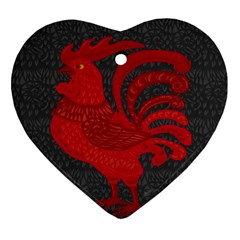 Red fire chicken year Ornament (Heart)