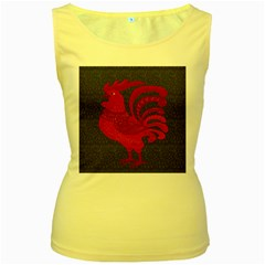 Red fire chicken year Women s Yellow Tank Top