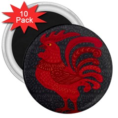 Red fire chicken year 3  Magnets (10 pack)