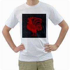 Red fire chicken year Men s T-Shirt (White) (Two Sided)