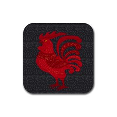 Red fire chicken year Rubber Coaster (Square)