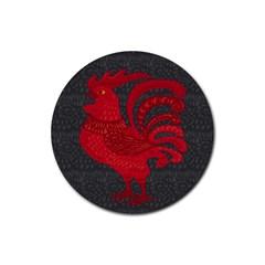 Red fire chicken year Rubber Coaster (Round)