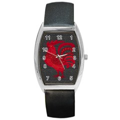 Red fire chicken year Barrel Style Metal Watch