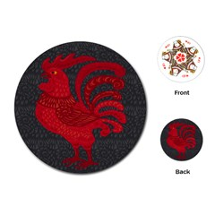 Red fire chicken year Playing Cards (Round)