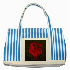 Red fire chicken year Striped Blue Tote Bag