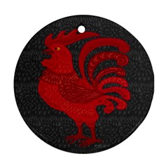Red fire chicken year Round Ornament (Two Sides)